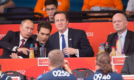 David Cameron & Vladimir Putin watch Judo at ExCel