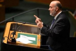 Посол Израиля в ООН Рон Просор на трибуне Генеральной Ассамблеи