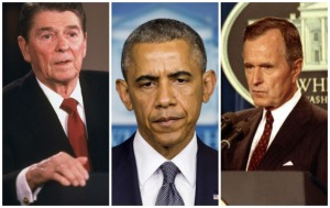 Президенты США Рональд Рейган, Барак Обама и Джордж Буш-старший