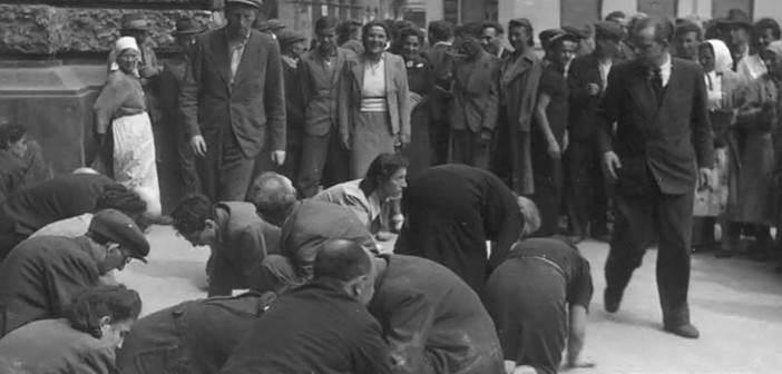 Первый день оккупации Львова, 30 июня 1941 года. Евреи на коленях чистят руками площадку перед театром