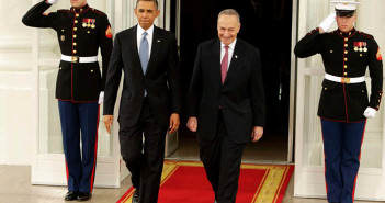 U.S. President Barack Obama (L) departs the White House with Senator Chuck Schumer (D-NY) in Washington January 21, 2013, enroute The U.S. Capitol for his ceremonial swearing-in for his second term. Schumer is the Chair of the Joint Congressional Committee on Inaugural Ceremonies.  REUTERS/Chris Kleponis (UNITED STATES - Tags: POLITICS)