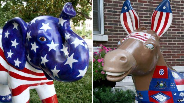 Слон и осел, символы Республиканской и Демократической партий США