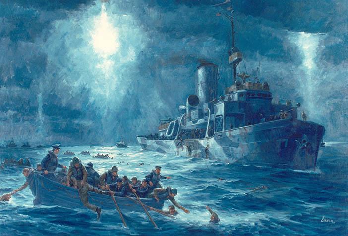 Матросы корабля береговой охраны «Эсканаба» спасают выживших с «Дорчестера»