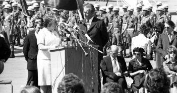 1973 г. Голда Меир встречает канцлера ФРГ Вилли Брандта