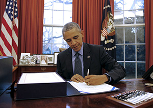 Барак Обама за работой