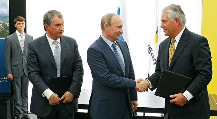 Игорь Сечин, Владимир Путин и Рекс Тиллерсон
