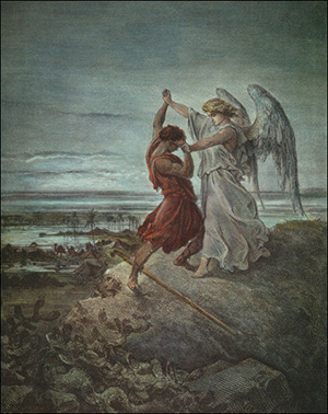 Поль Гюстав Доре.  Яков, сражающийся  с ангелом