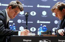 Норвежец Магнус Карлсен и россиянин Сергей Карякин  в матче за звание чемпиона мира