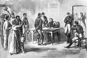 Гражданская война в США.  Чернокожие добровольцы записываются  в армию генерала Гранта