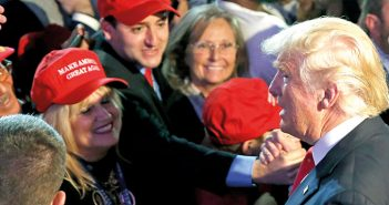 Republican U.S. presidential nominee Donald Trump greets supporters at his election night rally in Manhattan
