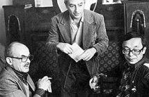 Булат Окуджава, Александр Городницкий и Юлий Ким. Москва, 1986г.