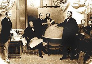 30марта 1867года: Уильям Сьюард, госсекретарь США  (сидит скартой) ибарон Эдуард Стекль,  российский посланник вВашингтоне (стоит углобуса)