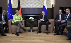 Ангела Меркель на приеме врезиденции Владимира Путина