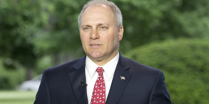 Mandatory Credit: Photo by REX/Shutterstock (8790269b) United States House Majority Whip Steve Scalise (Republican of Louisiana) is interviewed at the White House in Washington, DC following the passage of the American Health Care Act (AHCA). United States House Majority Whip Steve Scalise press conference, Washington DC, USA - 04 May 2017