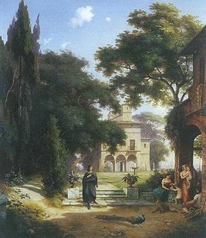 Вилла Рафаэля в Риме. Эрнст Фердинана Оме. 1834г. (Частная коллекция, Вюрцбург)