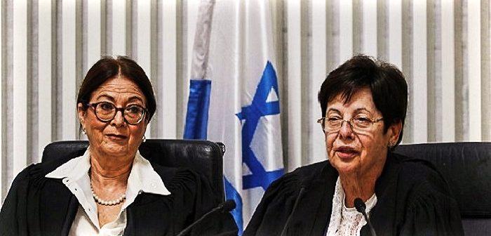 Председатели БАГАЦ: новоизбранная - Эстер Хают (слева) и ушедшая в отставку Мирьям Наор