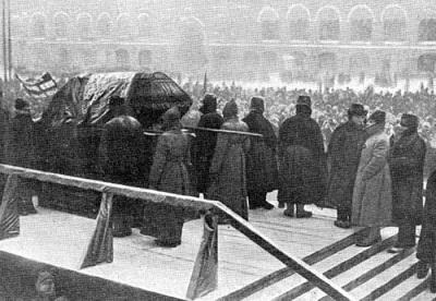 Помост на Красной площади с гробом В.И. Ленина. 27 января 1924 г.