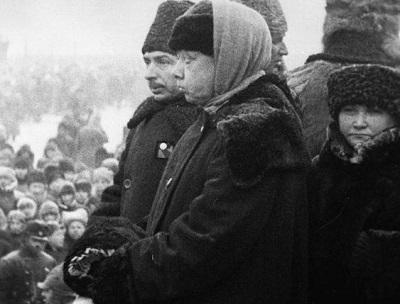Н.К. Крупская на похоронах В.И. Ленина
