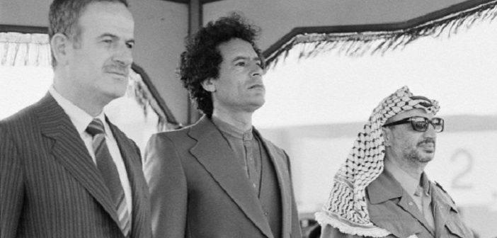 Syrian President Hafez al Assad, Libyan Leader Muammar al-Qaddafi and Palestinian Leader Yasser Arafat