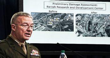 Представитель Комитета начальников штабов ВС США генерал-лейтенант Кеннет Маккензи на пресс-конференции по результатам бомбардировки