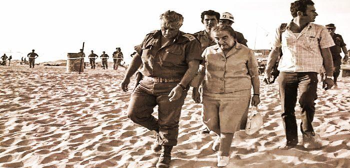 ПМ Голда Меир и генерал Ариэль Шарон на Синайском фронте войны Судного дня