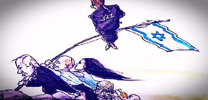 "Преодоление. (Карикатура ""Аруц 7). Фигура на древке флага, с надписью на спине ""БАГАЦ"", напоминает председателя БАГАЦ Э.Хают. ""Преодолевают"": Б.Нетаниягу, Н.Беннет, А.Шакед и пр."