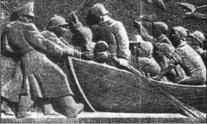 Фото 6. Барельеф, изображающий приставшую к шведскому берегу (Хельсингборг) лодку с датскими евреями-беглецами установлен у мэрии города. Такой же барельеф установлен в Иерусалиме.