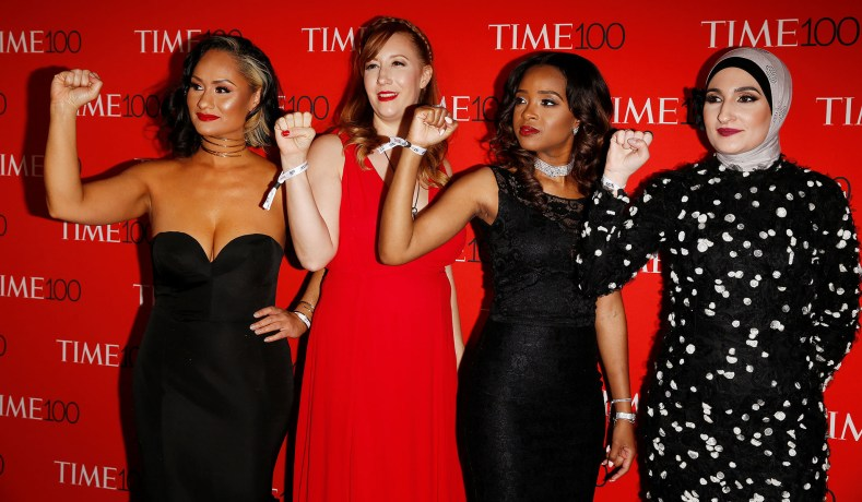 Women's March National Co-Chairs Carmen Perez, Bob Bland, Tamika D. Mallory and Linda Sarsour arrive for the Time 100 Gala in the Manhattan borough of New York, New York, U.S. April 25, 2017.   REUTERS/Carlo Allegri - RC193EA0E100