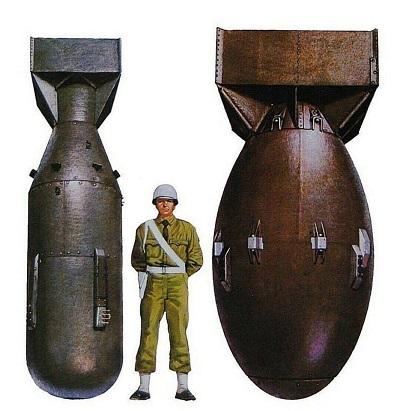 Самыми крупными авиабомбами, использовавшимися в ВМВ, стали бомбы Little Boy («Малыш») и Fat Man («Толстяк»)