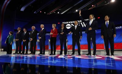 Amy Klobuchar, Cory Booker, Pete Buttigieg, Bernie Sanders, Joe Biden, Elizabeth Warren, Kamala Harris, Andrew Yang, Beto O'Rourke, Julian Castro