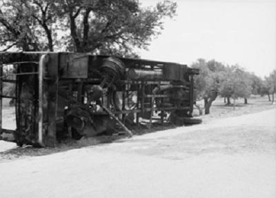 Сожжённый еврейский автобус под Хайфой, 1938