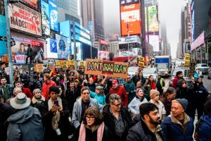 People take part in an anti-war protest amid increased tensions between the United States and Iran at Times Square in New York, U.S., January 4, 2020. REUTERS/Eduardo Munoz - RC279E95CA9L