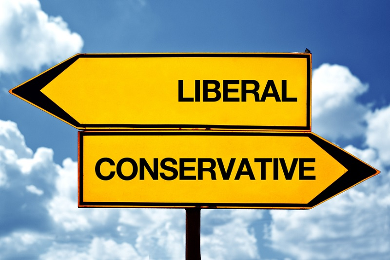 Liberal or conservative, opposite signs