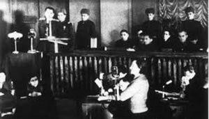 «Дина Проничева дает показания по делу о военных преступлениях, Киев, 24 января 1946 года»; USHMM
