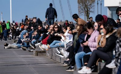 People enjoy the sun in Malmo as the spread of the coronavirus disease (COVID-19) continues