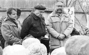 День Холокоста на Востряковском кладбище в Москве. Выступает Иосеф Бегун, апрель 1987 года