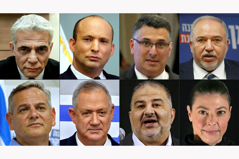 """(COMBO) This combination of pictures created on June 2, 2021 shows (Top L to R) Israel's opposition leader Yair Lapid, Israeli former Defense Minister Naftali Bennett, Israeli former Interior Minister Gidon Saar, Israeli ex-defence minister Avigdor Lieberman, (bottom L to R) Israeli politician Nitzan Horowitz, Israeli alternate Prime Minister Benny Gantz, head of Israel's conservative Islamic Raam party Mansour Abbas, and leader of the Israeli Labour Party (HaAvoda) Merav Michaeli. - Israel's opposition chief Yair Lapid informed the country's president he has managed to muster enough support across a broad political spectrum to achieve a government of """"change"""", which could signal the end of Benjamin Netanyahu's leadership and two years of political crisis. (Photos by AFP)"""