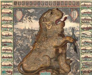 Лидеры восставших провинций объединились, чтобы противостоять испанскому завоеванию. Карта в виде Льва в окружении мятежных губернаторов. Клас Янс Висхер, 1650 г.