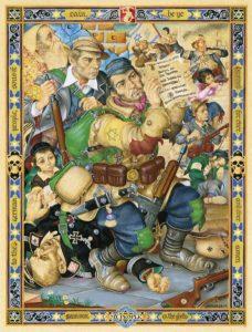 """""""Мой народ. Самсон в гетто"""" (Сражение в Варшавском гетто), 1945 год Taube Family Arthur Szyk Collection, Magnes Collection of Jewish Art and Life, University of California, Berkeley"""