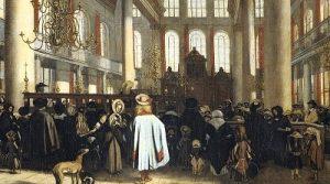 Интерьер Португальской синагоги в Амстердаме. Эмануэль де Витте, около 1680 г.