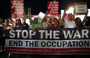 Митинг в Тель-Авиве за прекращение операции «Несокрушимая скала» в Газе
