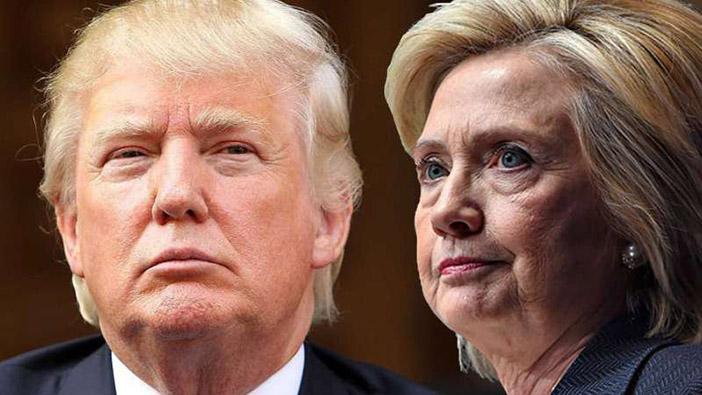 Дональд Трамп и Хиллари Клинтон  перед выходом на поединок