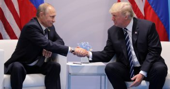 U.S. President Donald Trump shakes hands with Russia's President Vladimir Putin during the their bilateral meeting at the G20 summit in Hamburg
