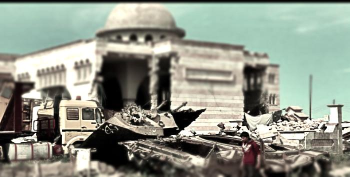 Очередная победа одной из сторон в сирийском городе Азаз. Подбитые танки, разрушенная мечеть...