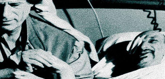 М.Каддафи навещает Я.Арафата в тунисском госпитале. 1992 г.