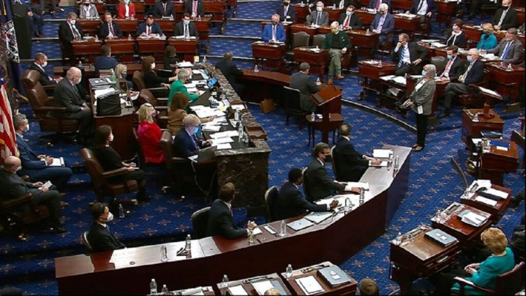 In this image from video, senators vote during the second impeachment trial of former President Donald Trump in the Senate at the U.S. Capitol in Washington, Saturday, Feb. 13, 2021. (Senate Television via AP)